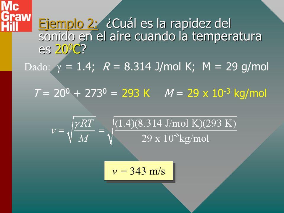 Rapidez del sonido en el aire Para la rapidez del sonido en el aire, se encuentra que: Nota: La velocidad del sonido aumenta con la temperatura T. = 1