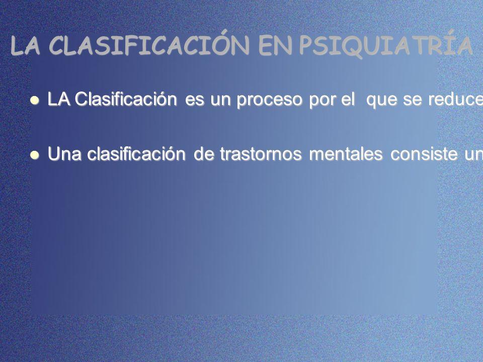 LA CLASIFICACIÓN EN PSIQUIATRÍA LA Clasificación es un proceso por el que se reduce la complejidad de los fenómenos, disponiéndolos según criterios es