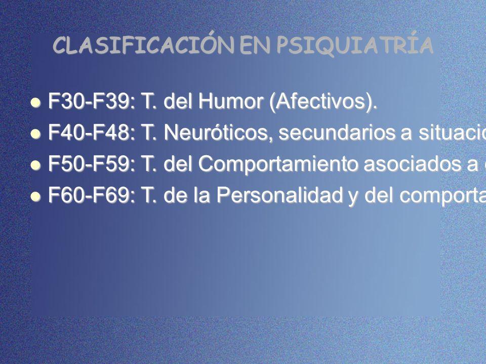 CLASIFICACIÓN EN PSIQUIATRÍA F30-F39: T. del Humor (Afectivos). F30-F39: T. del Humor (Afectivos). F40-F48: T. Neuróticos, secundarios a situaciones e