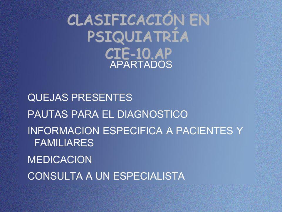 CLASIFICACIÓN EN PSIQUIATRÍA CIE-10.AP APARTADOS QUEJAS PRESENTES PAUTAS PARA EL DIAGNOSTICO INFORMACION ESPECIFICA A PACIENTES Y FAMILIARES MEDICACIO