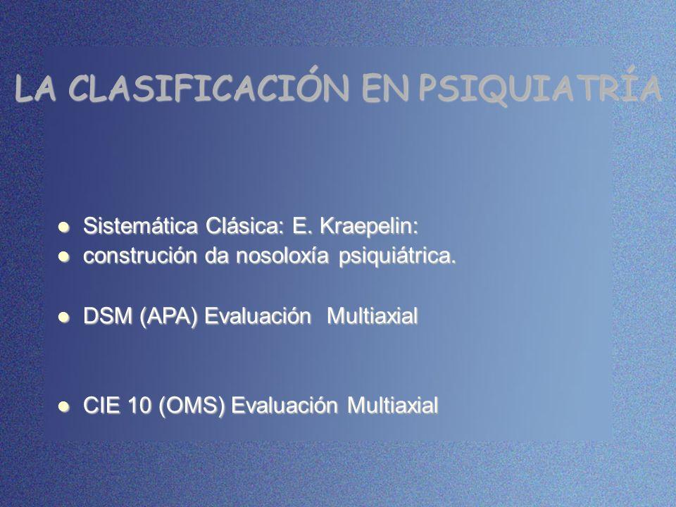 LA CLASIFICACIÓN EN PSIQUIATRÍA Sistemática Clásica: E. Kraepelin: Sistemática Clásica: E. Kraepelin: construción da nosoloxía psiquiátrica. construci