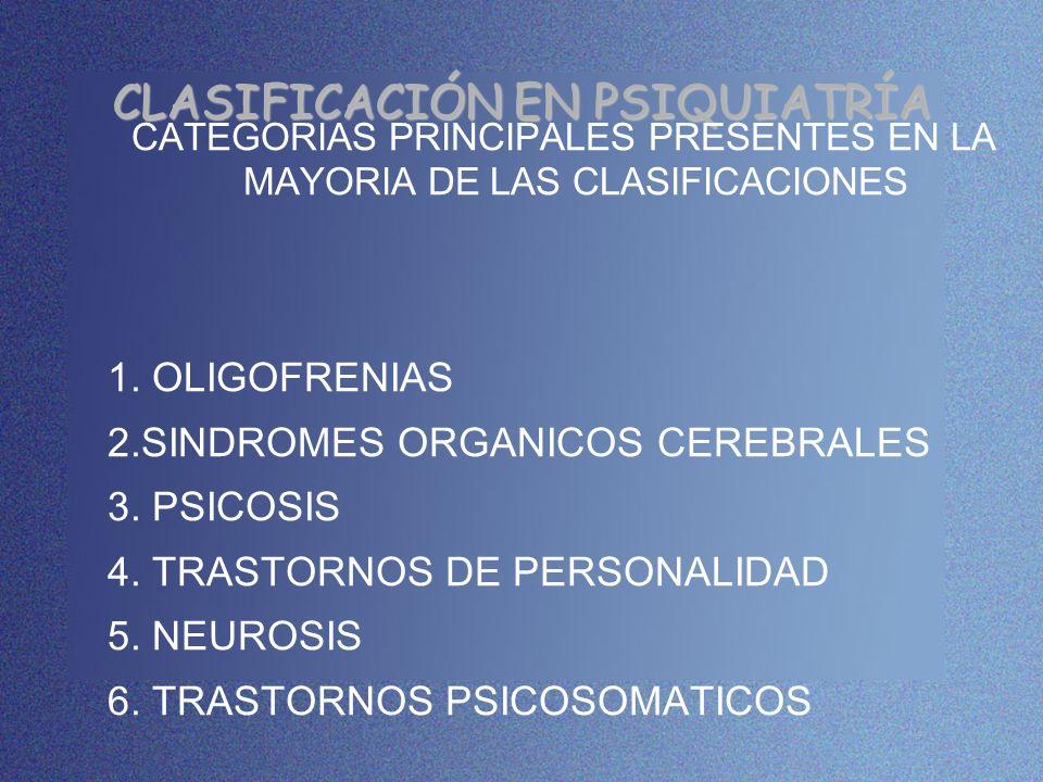 CLASIFICACIÓN EN PSIQUIATRÍA CATEGORIAS PRINCIPALES PRESENTES EN LA MAYORIA DE LAS CLASIFICACIONES 1. OLIGOFRENIAS 2.SINDROMES ORGANICOS CEREBRALES 3.
