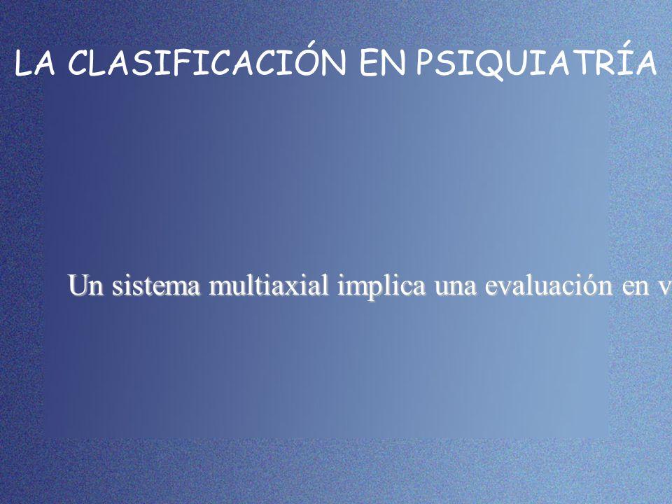 LA CLASIFICACIÓN EN PSIQUIATRÍA Un sistema multiaxial implica una evaluación en varios ejes, cada uno de los cuales concierne un área distinta de info