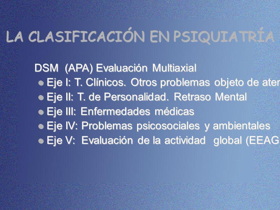 LA CLASIFICACIÓN EN PSIQUIATRÍA DSM (APA) Evaluación Multiaxial Eje I: T. Clínicos. Otros problemas objeto de atención Eje I: T. Clínicos. Otros probl
