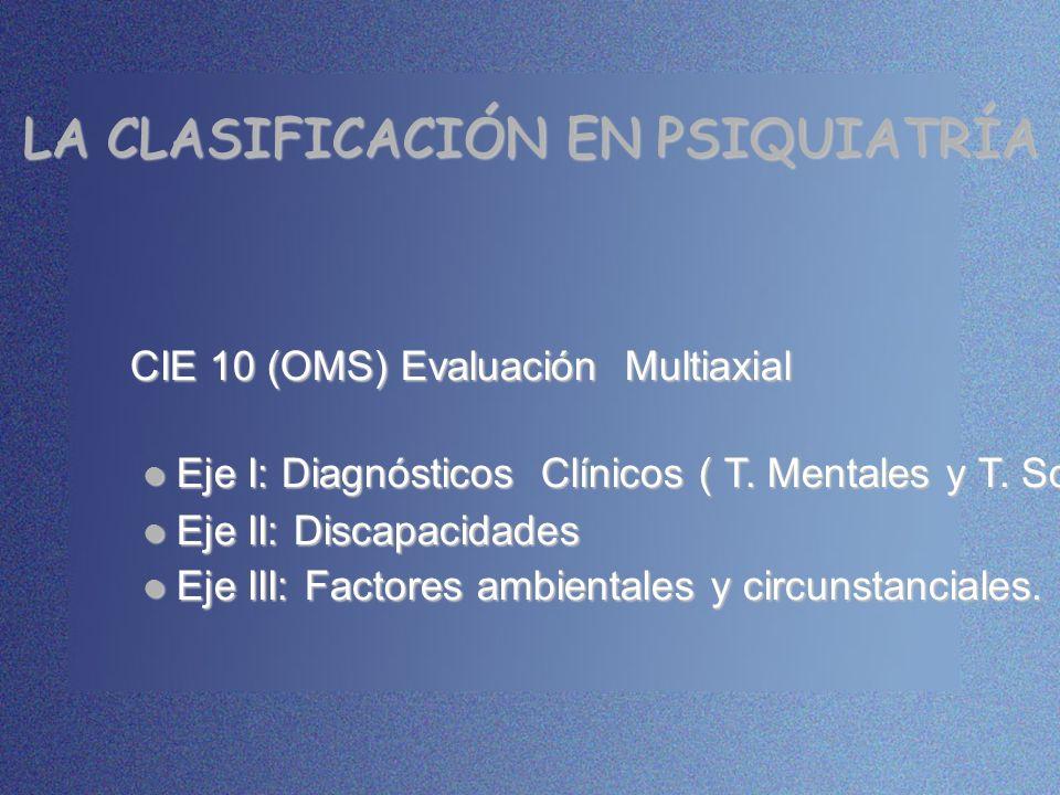 LA CLASIFICACIÓN EN PSIQUIATRÍA CIE 10 (OMS) Evaluación Multiaxial Eje I: Diagnósticos Clínicos ( T. Mentales y T. Somáticos) Eje I: Diagnósticos Clín