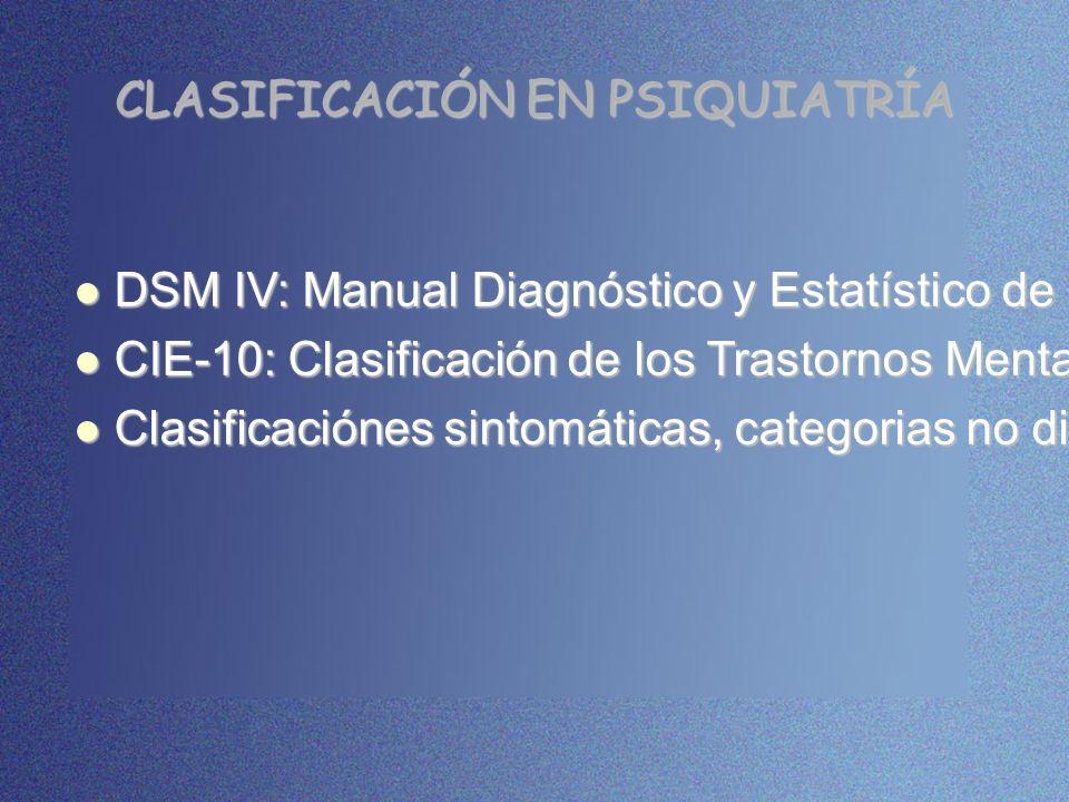 CLASIFICACIÓN EN PSIQUIATRÍA DSM IV: Manual Diagnóstico y Estatístico de los Trastornos Mentales. DSM IV: Manual Diagnóstico y Estatístico de los Tras