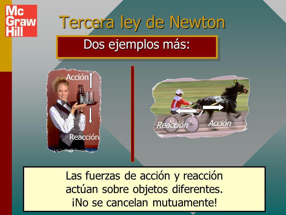 Tercera ley de Newton Dos ejemplos más: Las fuerzas de acción y reacción actúan sobre objetos diferentes.