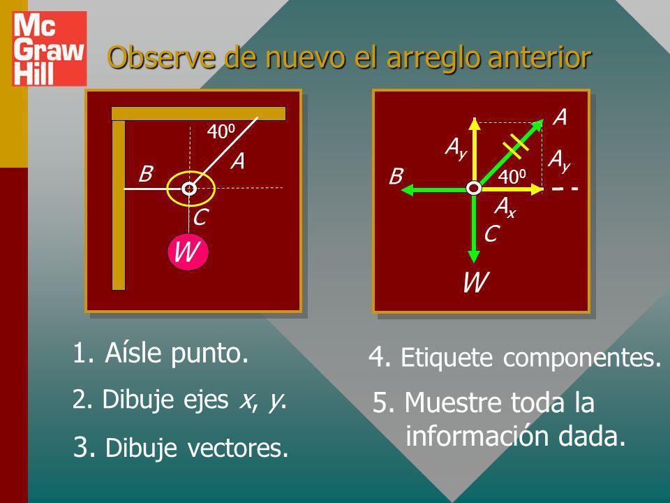 Observe de nuevo el arreglo anterior W 40 0 A B C 1.Aísle punto.