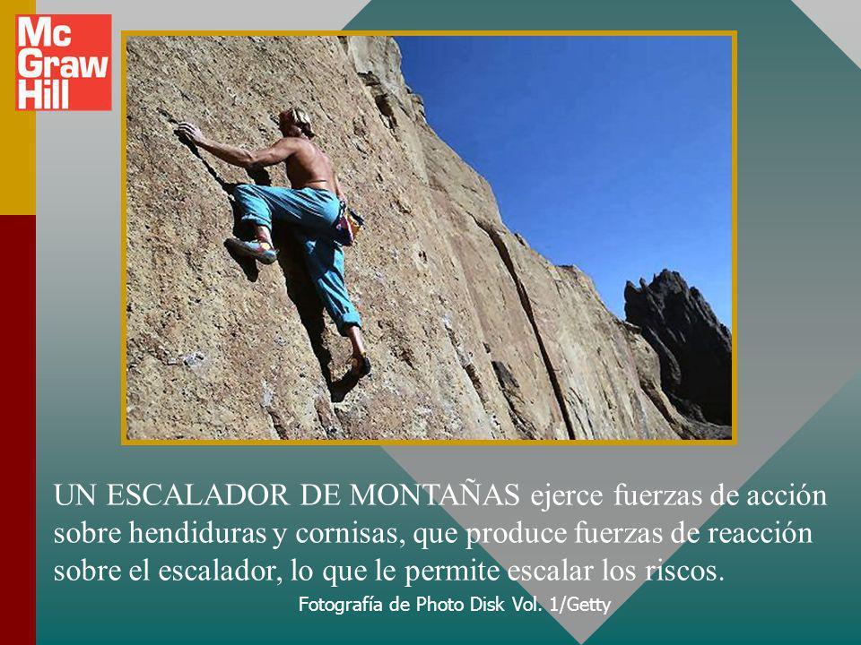 UN ESCALADOR DE MONTAÑAS ejerce fuerzas de acción sobre hendiduras y cornisas, que produce fuerzas de reacción sobre el escalador, lo que le permite escalar los riscos.