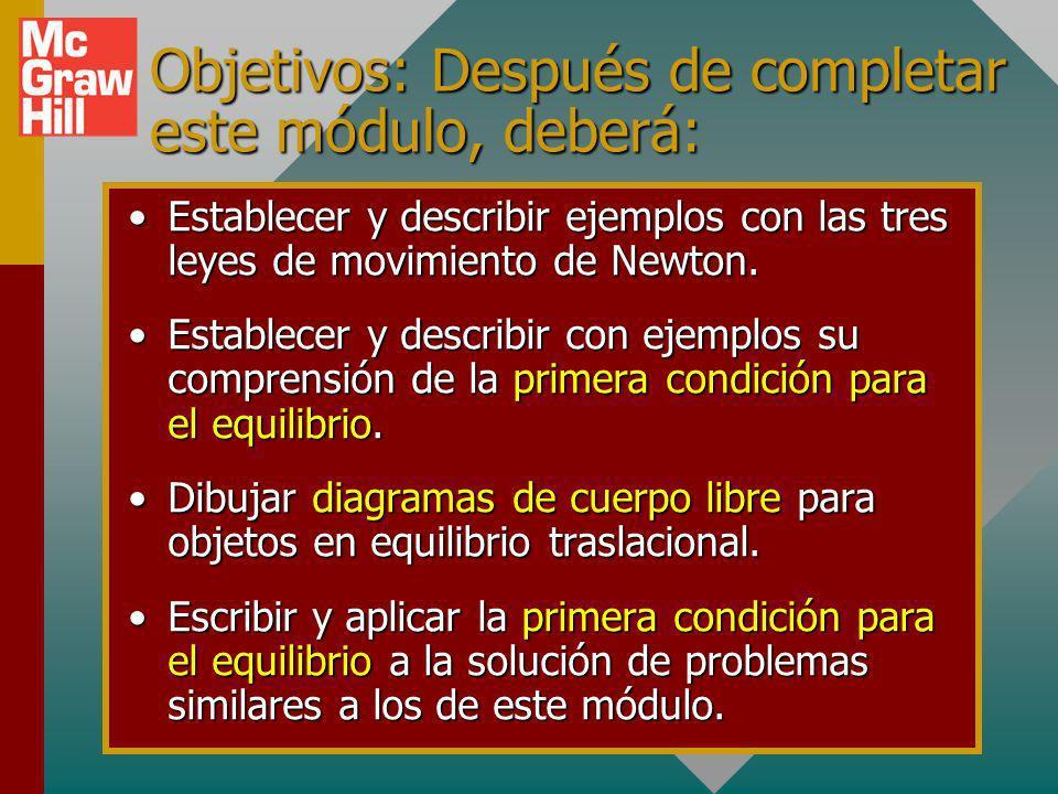 Objetivos: Después de completar este módulo, deberá: Establecer y describir ejemplos con las tres leyes de movimiento de Newton.Establecer y describir ejemplos con las tres leyes de movimiento de Newton.