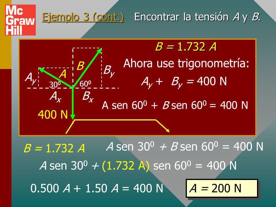 Ejemplo 3 (cont.) Encontrar la tensión A y B.