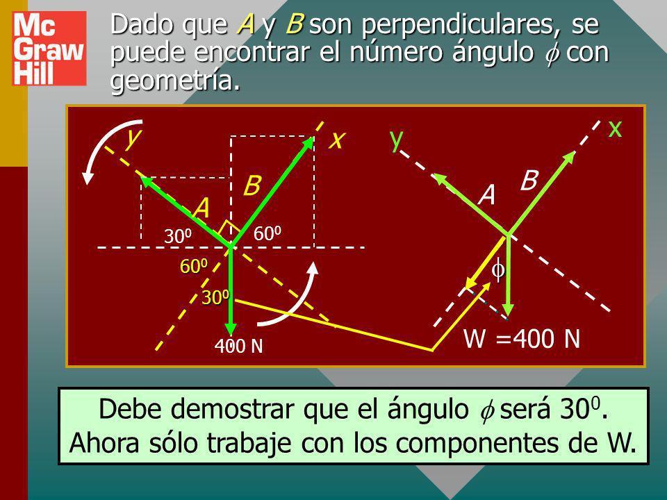 Dado que A y B son perpendiculares, se puede encontrar el número ángulo con geometría.