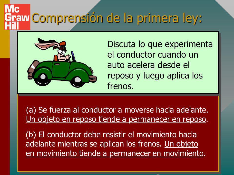 Comprensión de la primera ley: (a) Se fuerza al conductor a moverse hacia adelante.