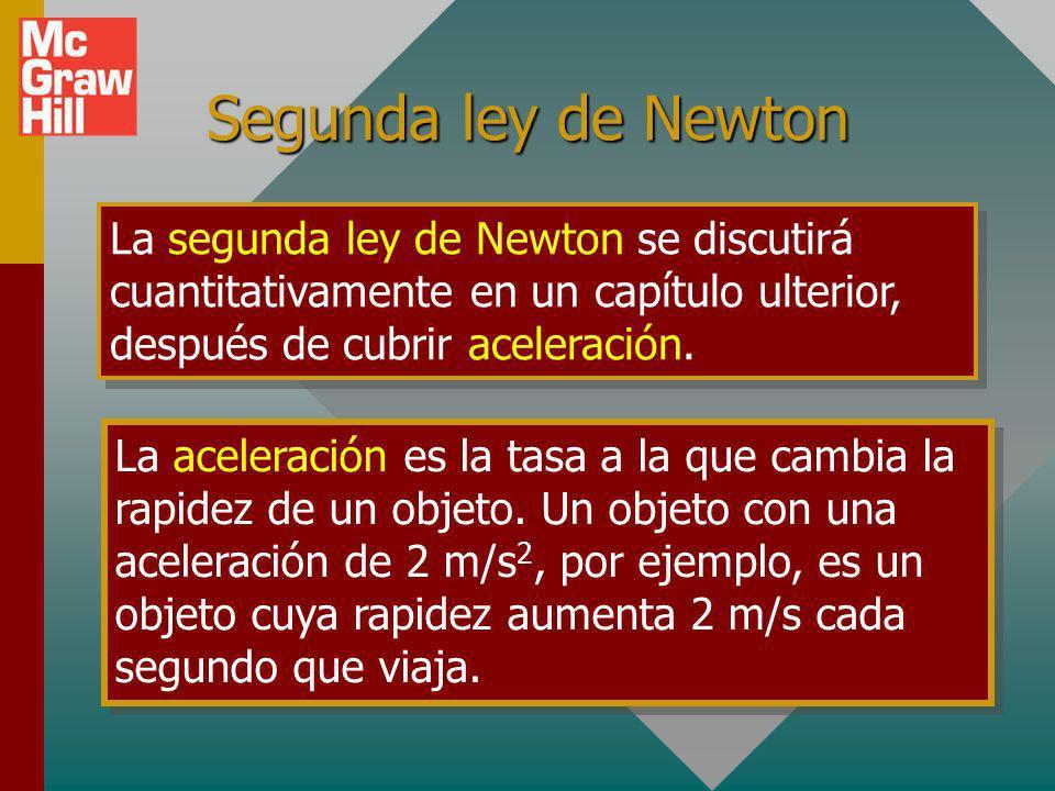 Segunda ley de Newton La segunda ley de Newton se discutirá cuantitativamente en un capítulo ulterior, después de cubrir aceleración.