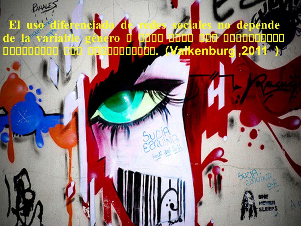 El uso diferenciado de redes sociales no depende de la variable género o edad sino del desarrollo evolutivo del adolescente. ( Valkenburg,2011 )