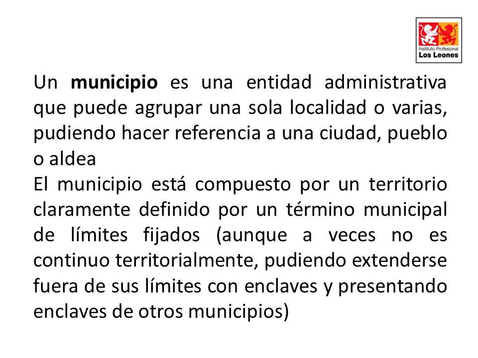 Un municipio es una entidad administrativa que puede agrupar una sola localidad o varias, pudiendo hacer referencia a una ciudad, pueblo o aldea El mu