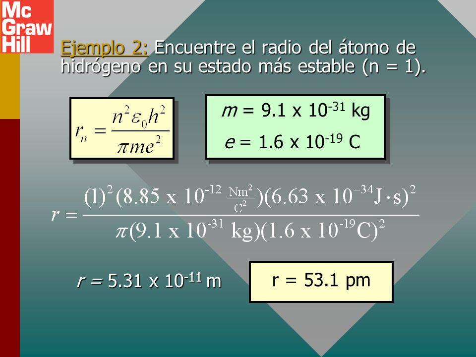 Radio del átomo de hidrógeno Radio como función del nivel energético: Radio de Bohr Radio clásico Al eliminar r de estas ecuaciones, se encuentra la v