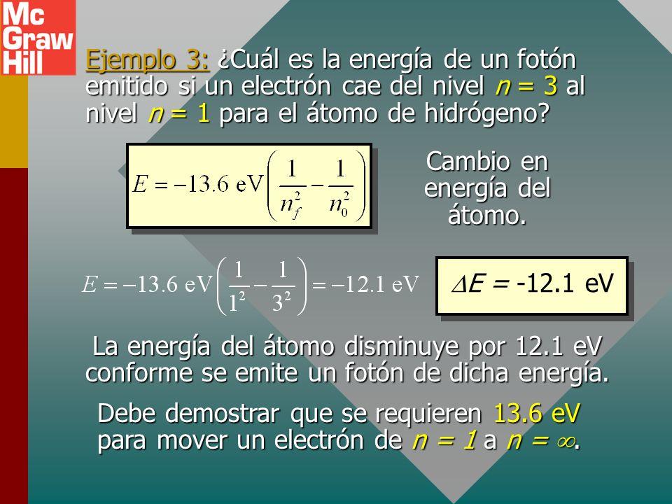 Series espectrales para un átomo La serie de Lyman es para transiciones al nivel n = 1. La serie de Balmer es para transiciones al nivel n = 2. La ser