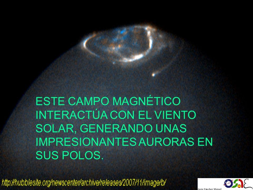 ESTE CAMPO MAGNÉTICO INTERACTÚA CON EL VIENTO SOLAR, GENERANDO UNAS IMPRESIONANTES AURORAS EN SUS POLOS.