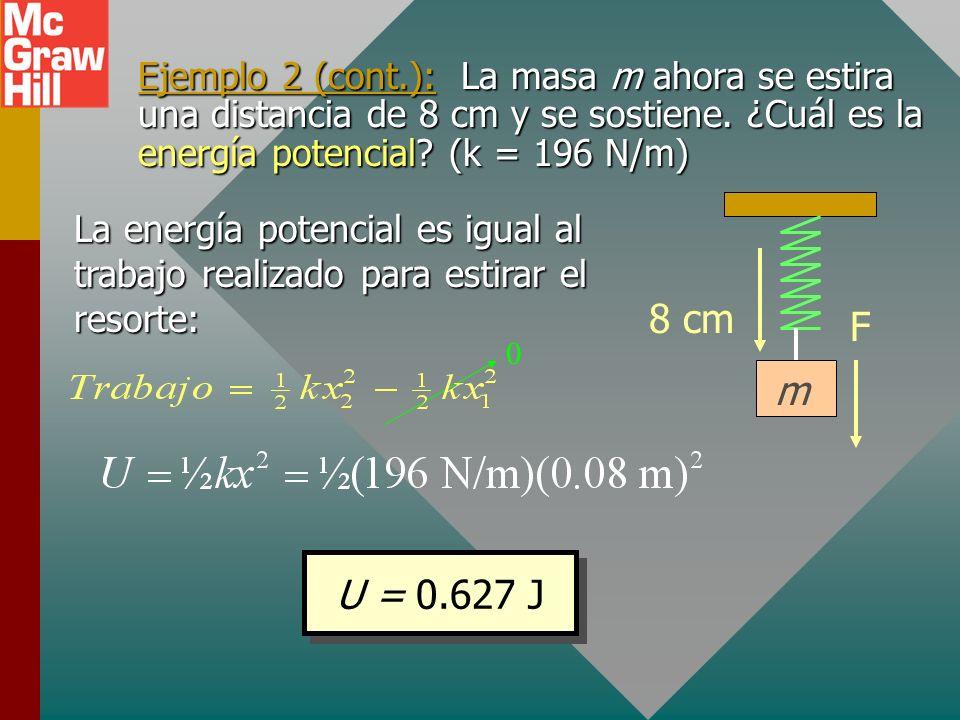 Ejemplo 2: Una masa de 4 kg, suspendida de un resorte, produce un desplazamiento de 20 cm. ¿Cuál es la constante de resorte? F 20 cm m La fuerza que e