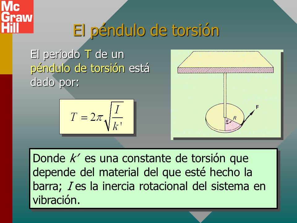 Ejemplo 8. Ejemplo 8. ¿Cuál debe ser la longitud de un péndulo simple para un reloj que tiene un periodo de dos segundos (tic-toc)? L L = 0.993 m