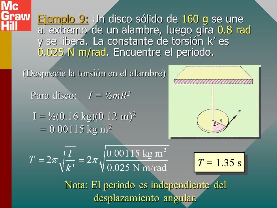 El péndulo de torsión El periodo T de un péndulo de torsión está dado por: Donde k es una constante de torsión que depende del material del que esté h