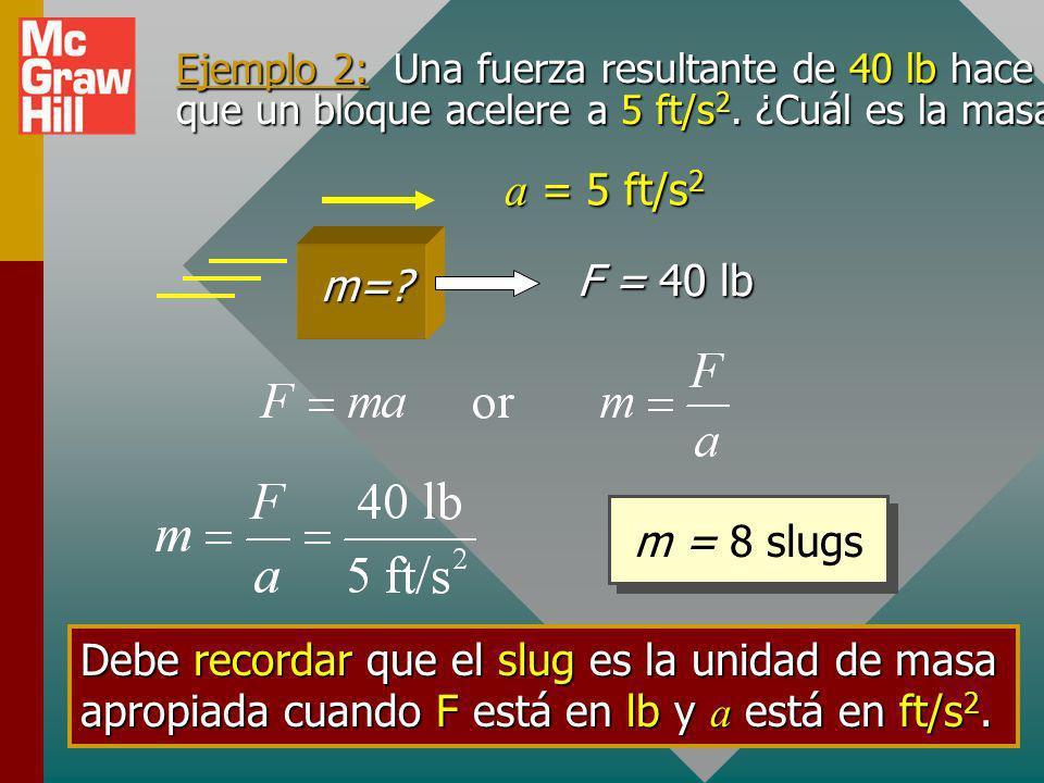 Ejemplo 1: ¿Qué fuerza resultante F se requiere para dar a un bloque de 6 kg una aceleración de 2 m/s 2 ? F = ? 6 kg a = 2 m/s 2 F = m a = (6 kg)(2 m/