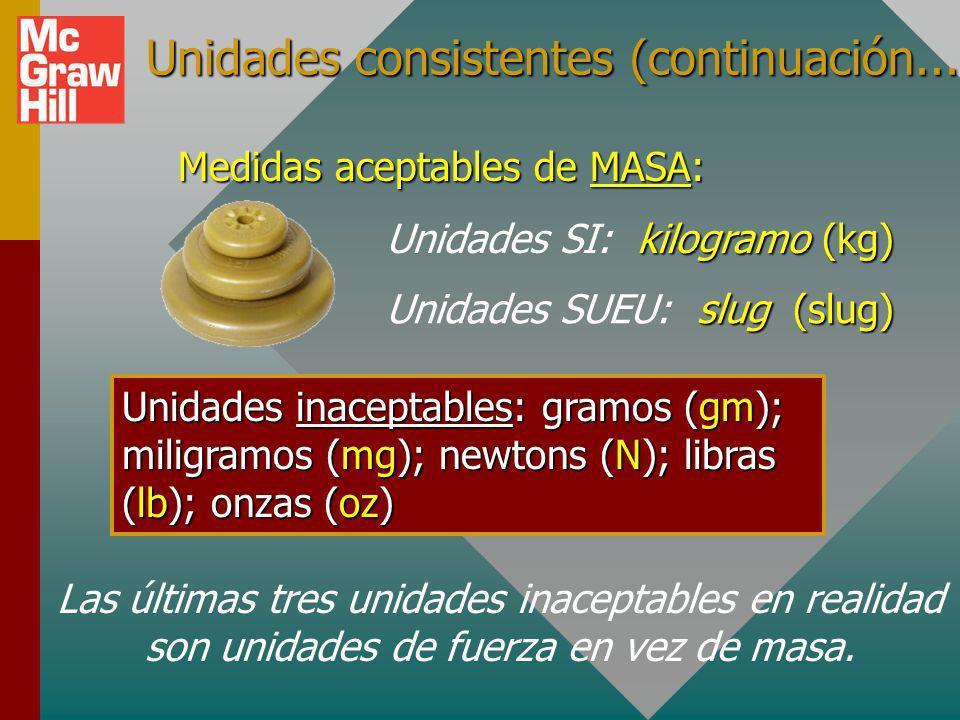 Unas palabras acerca de unidades consistentes Ahora que se tienen unidades derivadas de newtons y slugs, ya no puede usar unidades que sean inconsiste
