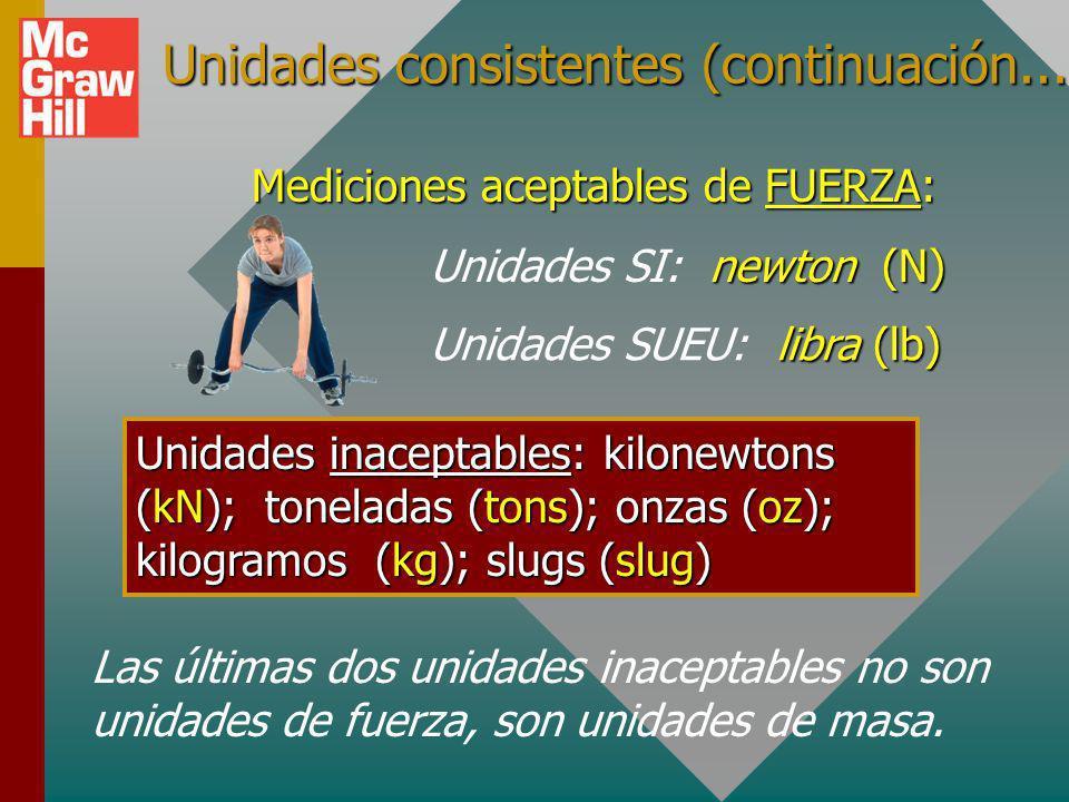 Unidades consistentes (continuación...) Unidades inaceptables: gramos (gm); miligramos (mg); newtons (N); libras (lb); onzas (oz) Medidas aceptables d