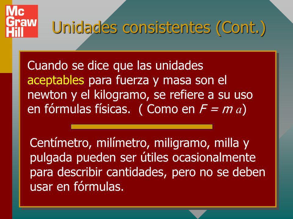 Unidades consistentes (continuación...) Unidades inaceptables: kilonewtons (kN); toneladas (tons); onzas (oz); kilogramos (kg); slugs (slug) Las últim