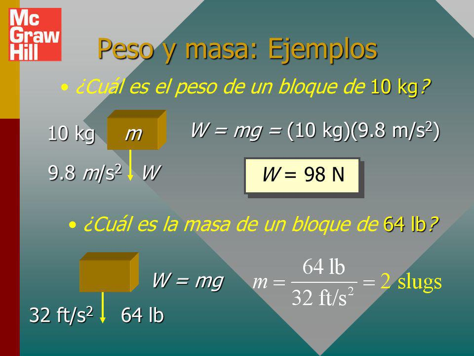 Peso y masa Peso es la fuerza debida a la gravedad. Se dirige hacia abajo y varía de ubicación a ubicación.Peso es la fuerza debida a la gravedad. Se