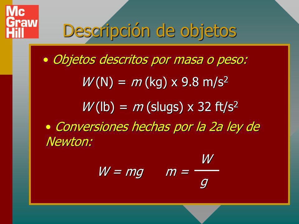 La masa es constante; el peso varía. Tierra 98 N 9.8 m/s 2 49 N 4.9 m/s 2 32 lb 16 ft/s 2 Tierra 64 lb 32 ft/s 2 m = = 10 kg Wg m = = 2 slugs Wg