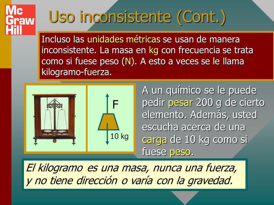 Uso común inconsistente En Estados Unidos, con frecuencia a los objetos se les refiere por su peso en un punto donde la gravedad es igual a 32 ft/s 2.