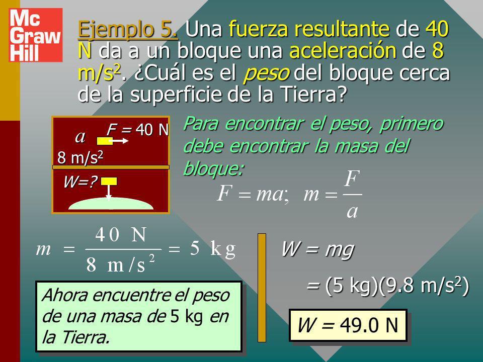 ¡¡Recuerde siempre!! En Física, el uso de la segunda ley de Newton y muchas otras aplicaciones hace absolutamente necesario distinguir entre masa y pe