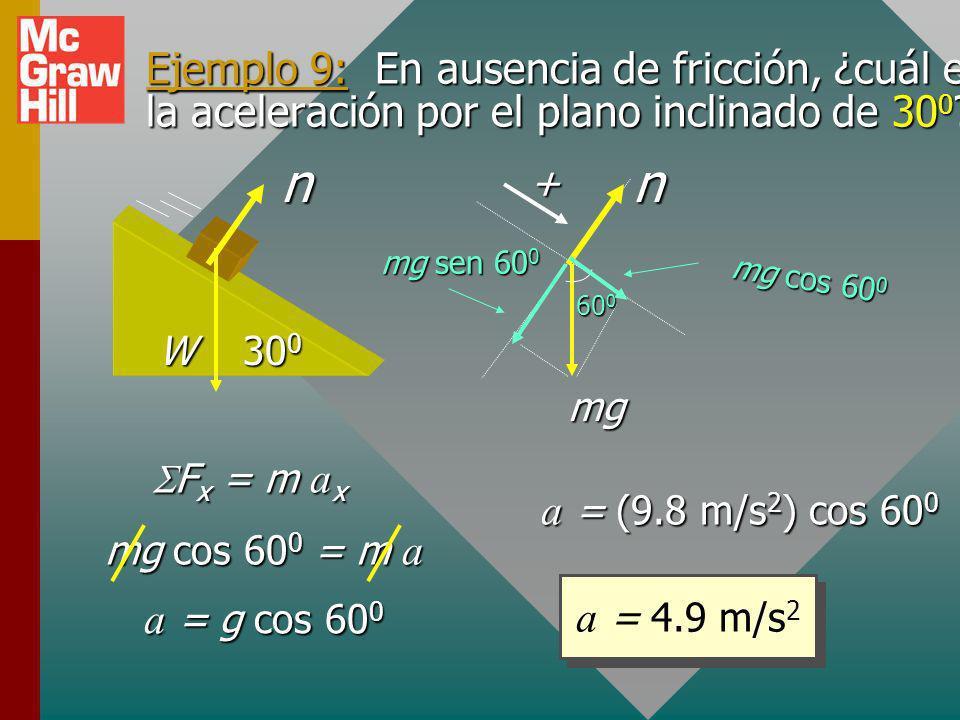 Ejemplo 8: ¿Cuál es la tensión T en la cuerda siguiente si el bloque acelera hacia arriba a 4 m/s 2 ? (Dibuje bosquejo y cuerpo libre.) 10 kg a = +4 m