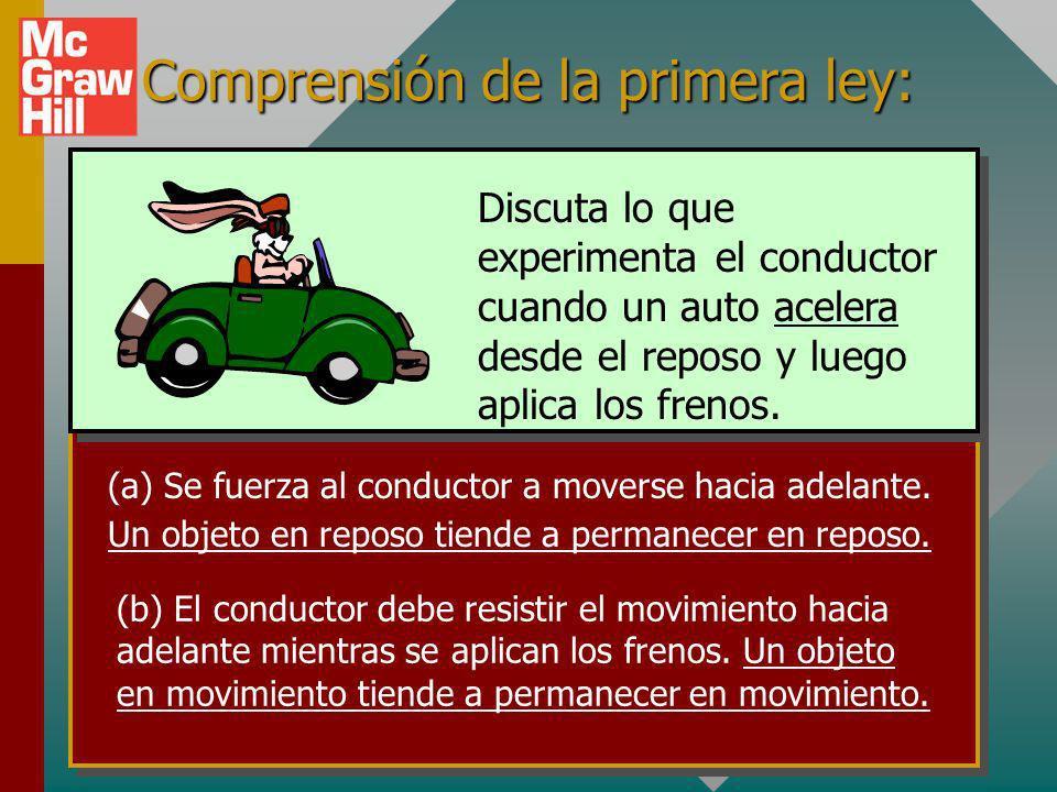 Primera ley de Newton (Cont.) Primera ley de Newton: Un objeto en reposo o en movimiento con rapidez constante permanecerá en reposo o con rapidez con