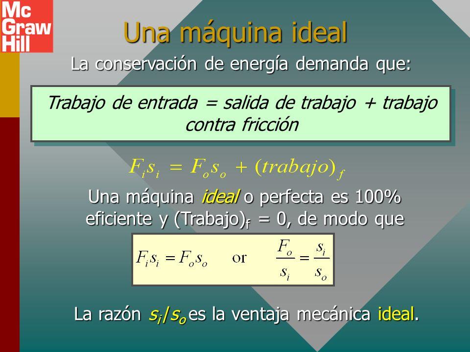 Ventaja mecánica real Máquina simple s en s sal. W F en = ? W Ventaja mecánica real F sal MAMAMAMA La ventaja mecánica real, M A, es la razón de F o a