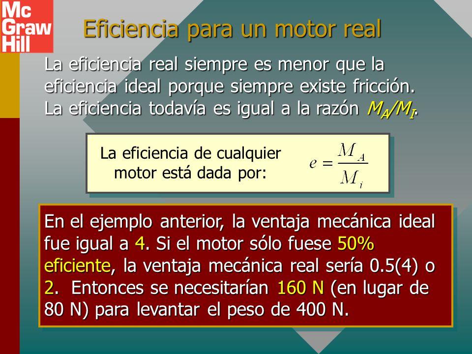 Eficiencia para un motor ideal Para 100% eficiencia, M A = M I. En otras palabras, en ausencia de fricción, la máquina ES una máquina ideal y e = 1. M