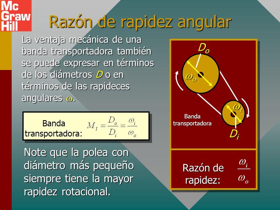 Una banda transportadora es un dispositivo que se usa para transmitir momento de torsión de un lugar a otro. La ventaja mecánica real es la razón de l