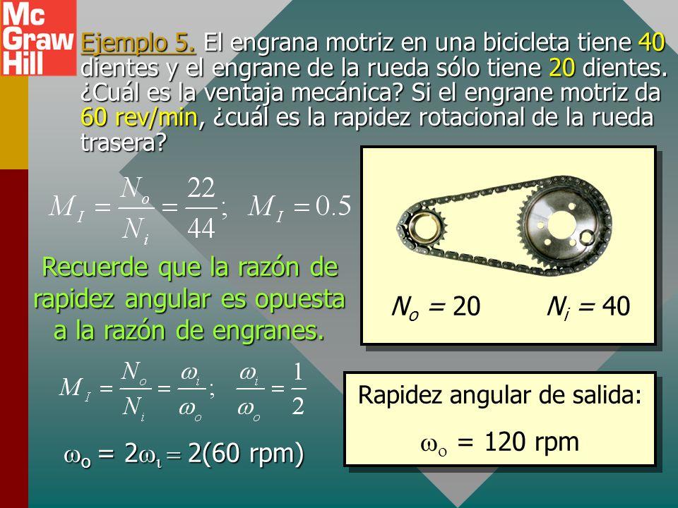 Engranes Engranes: En este caso, D o es el diámetro del engrane motriz y D i el diámetro del engrane impulsado. N es el número de dientes. Si en el en