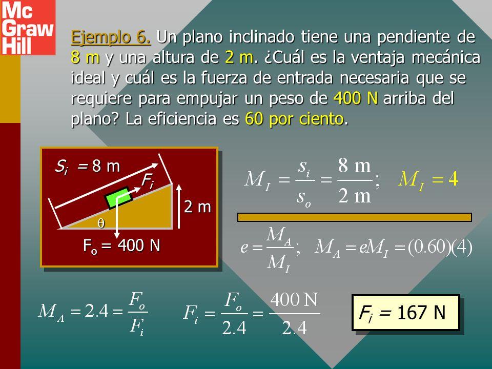 El plano inclinado FiFiFiFi F o = W sosososo sisisisi El plano inclinado Debido a la fricción, la ventaja mecánica real M A de un plano inclinado por