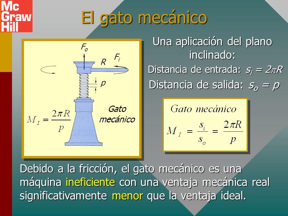 Ejemplo 6. Un plano inclinado tiene una pendiente de 8 m y una altura de 2 m. ¿Cuál es la ventaja mecánica ideal y cuál es la fuerza de entrada necesa