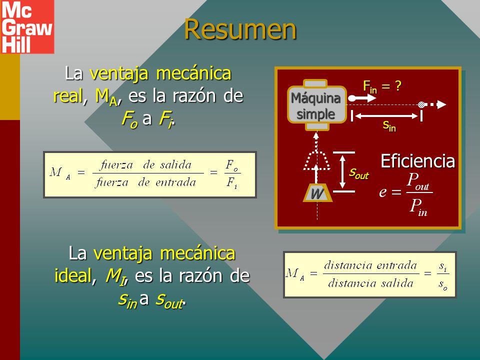 Resumen de máquinas simples La eficiencia e se define como la razón de salida de trabajo a entrada de trabajo. La eficiencia es la razón de la salida