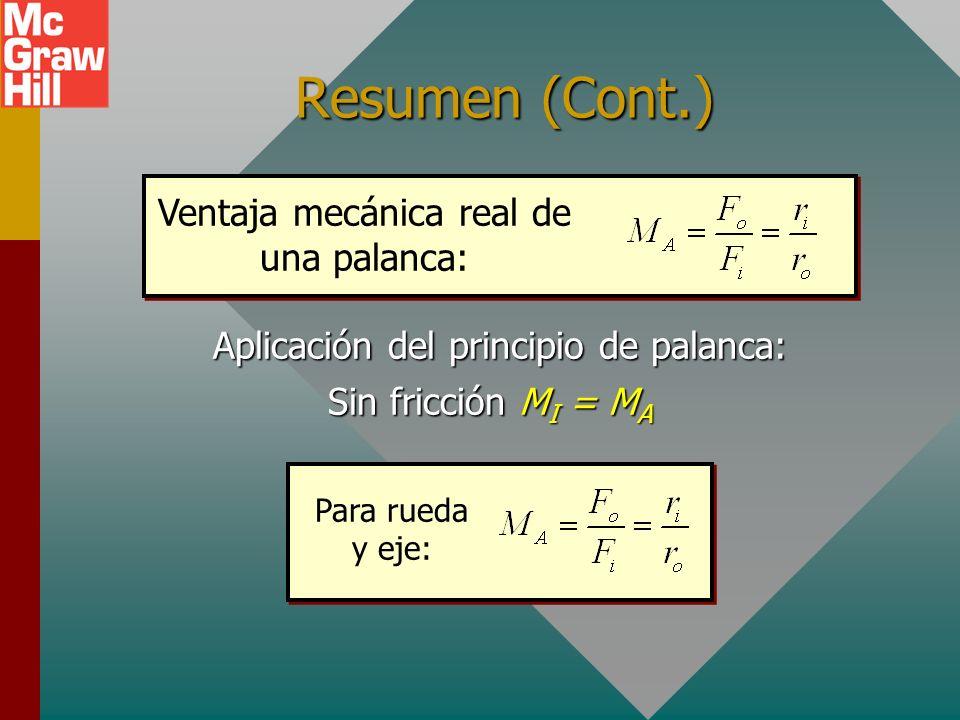 Resumen La ventaja mecánica real, M A, es la razón de F o a F i. Máquina simple s in s out W F in = ? W Eficiencia La ventaja mecánica ideal, M I, es