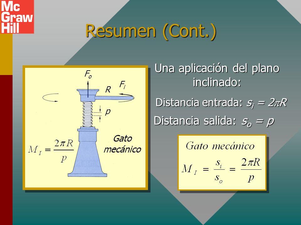 Resumen Engranes: FiFiFiFi F o = W sosososo sisisisi El plano inclinado Ventaja mecánica ideal NiNi NoNo Rueda motriz rueda impulsada