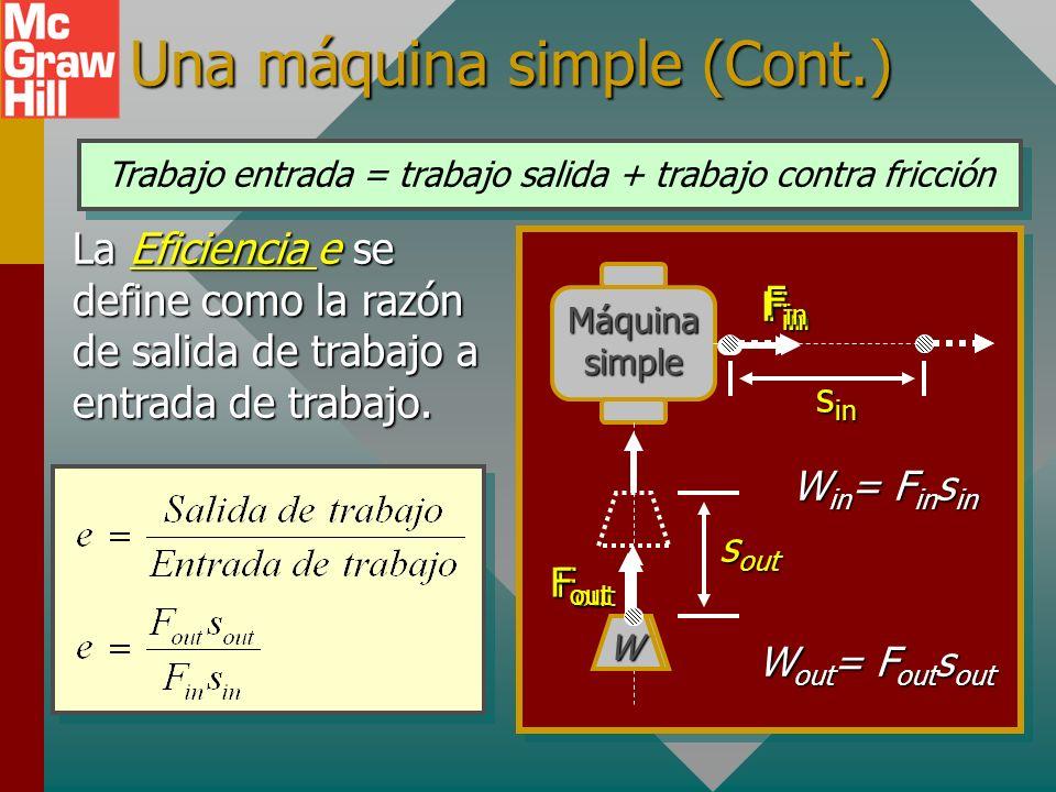Una máquina simple En una máquina simple, el trabajo de entrada (in) se realiza por la aplicación de una sola fuerza, y la máquina realiza trabajo de