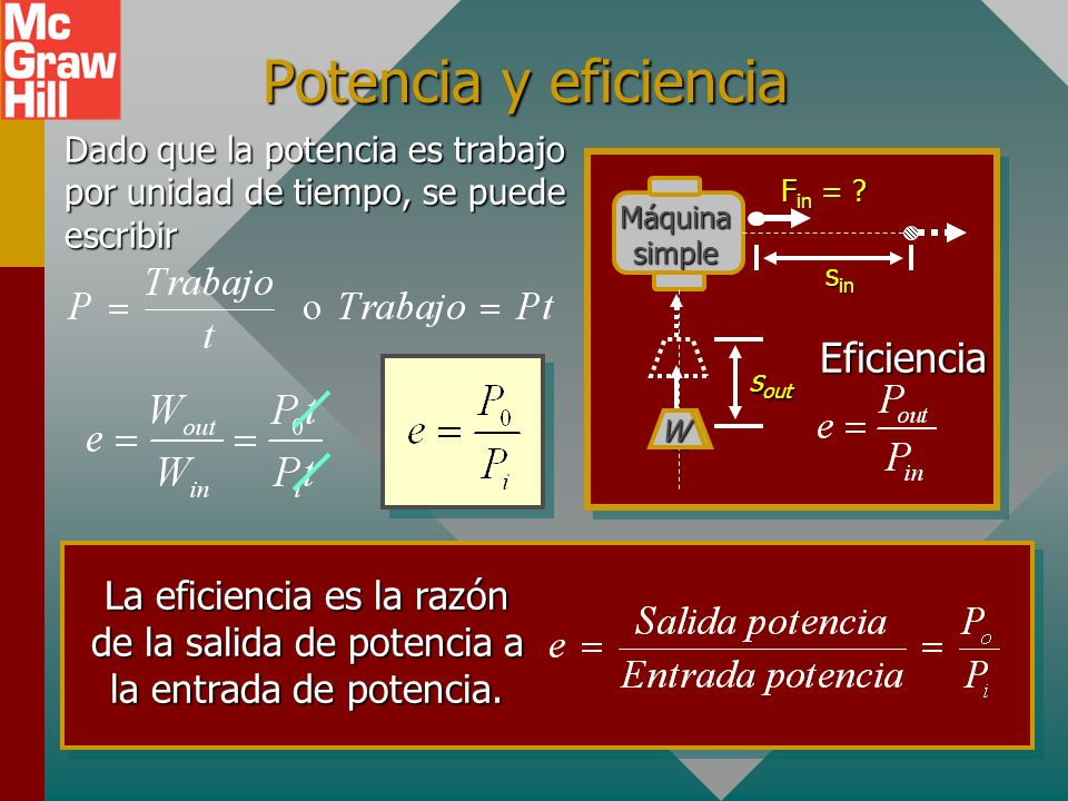 Ejemplo 1. La eficiencia de una máquina simple es 80% y un peso de 400 N se eleva una altura vertical de 2 m. Si se requiere una fuerza de entrada de