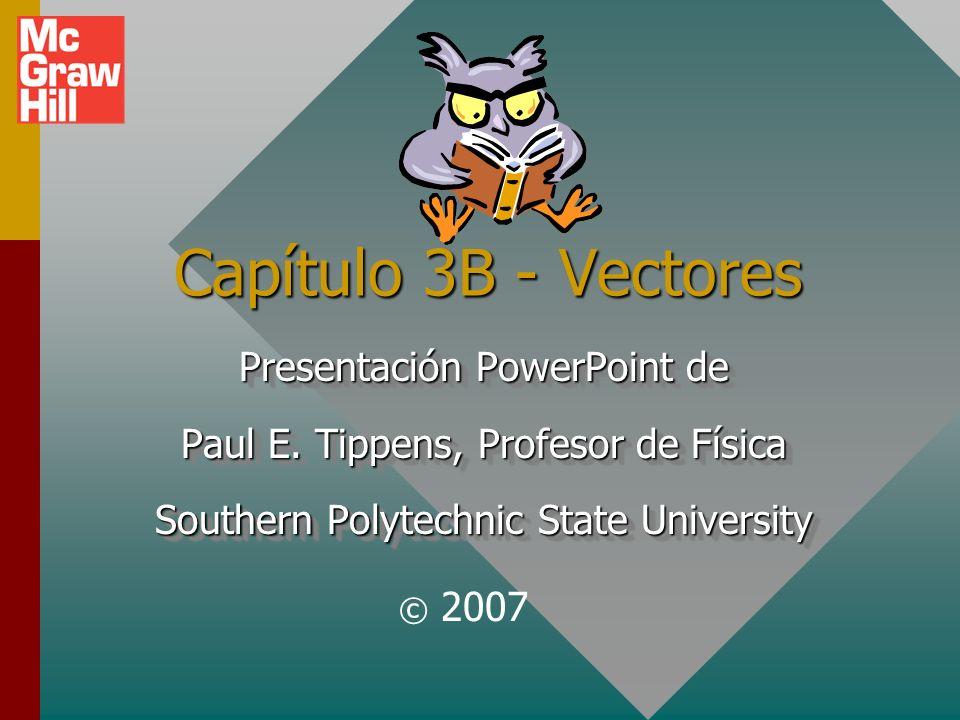 Resumen para vectores Una cantidad escalar se especifica completamente sólo mediante su magnitud.