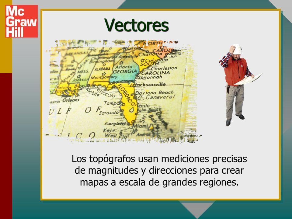 Los topógrafos usan mediciones precisas de magnitudes y direcciones para crear mapas a escala de grandes regiones.