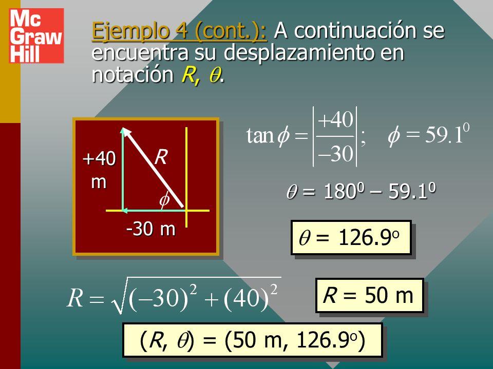 Ejemplo 4: Una mujer camina 30 m, W; luego 40 m, N. Escriba su desplazamiento en notación i, j y en notación R,. -30 m +40 m R R = R x i + R y j R = -